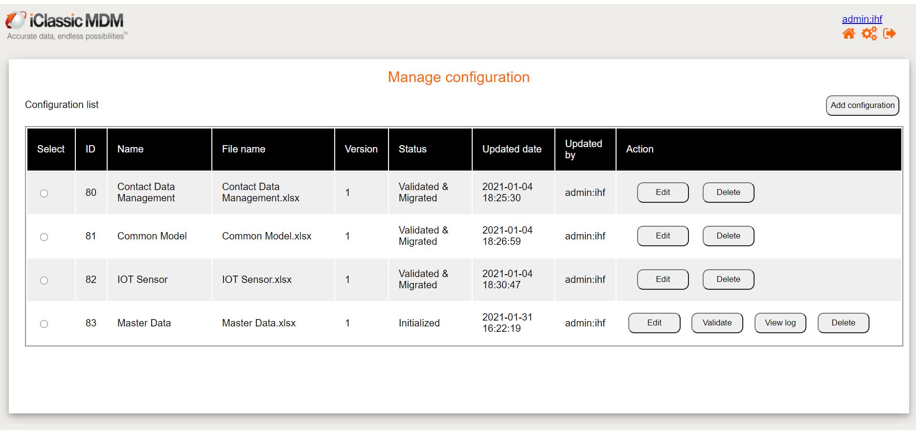 Access Master Data Config