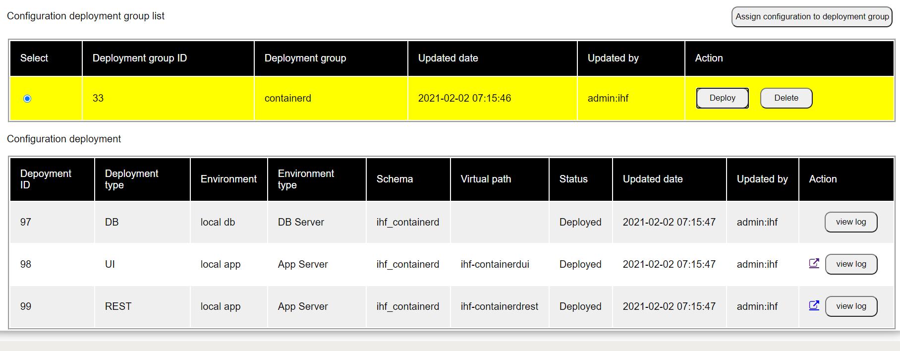 view ui links under deployment