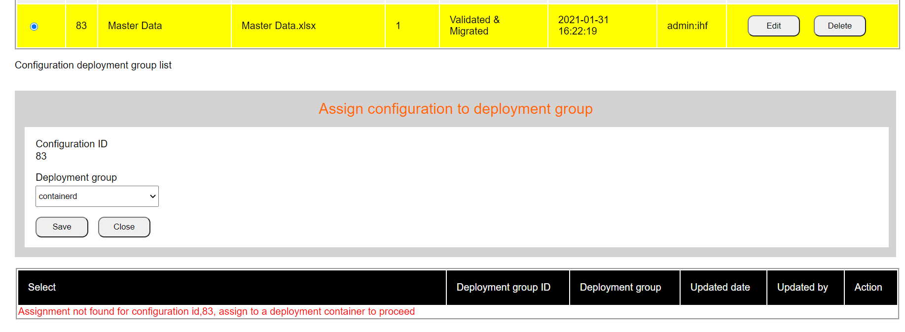 Assign config to deployment ii