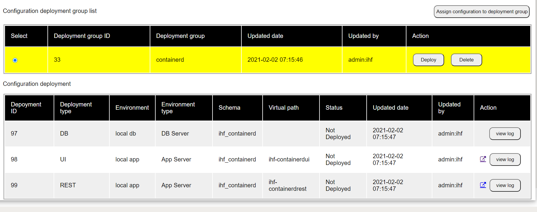 deploy config to deployment group